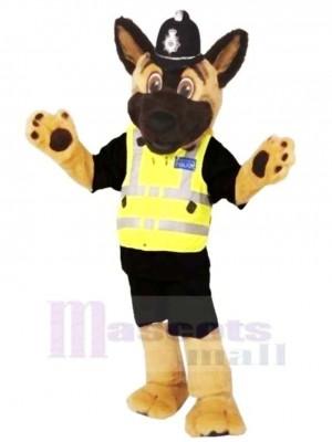 marron et Noir Personnel Police Chien Mascotte Costume Dessin animé