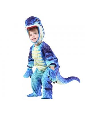 Bleu T-Rex Dinosaure Costume Dinosaure Combinaison Halloween Noël Robe en haut Cadeau pour Enfant