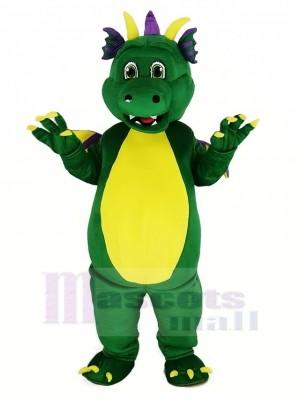 vert Dragon Mascotte Costume Dessin animé