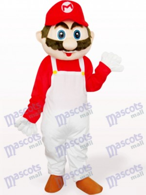Capitaine Mario en costume de mascotte adulte anime vêtements blancs et rouges