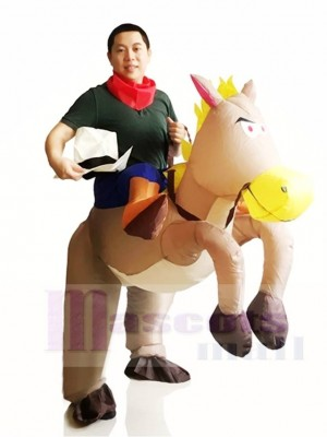 Cow-boy Balade Sur Gris Cheval Gonflable Halloween Noël Les costumes pour Adultes