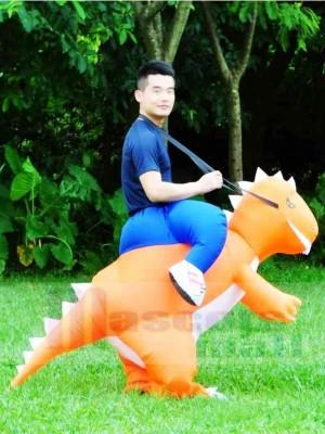 Orange Dinosaure Porter moi Balade Sur T-rex Gonflable Halloween Noël Les costumes pour Adultes