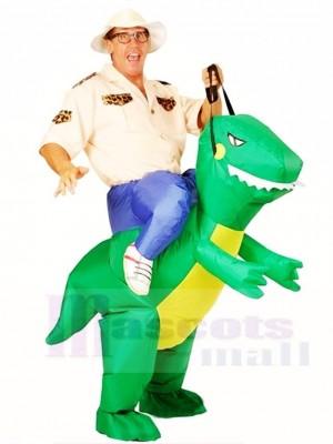 vert Dinosaure Porter moi Balade Sur T-rex Gonflable Halloween Noël Les costumes pour Adultes