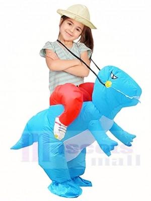 Bleu Dinosaure Porter Moi Balade Sur T-Rex Gonflable Halloween Noël Noël Les costumes pour Des gamins