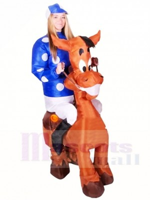 Balade sur Cheval Coup Up Jockey Gonflable Halloween Noël Les costumes pour Adultes