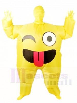 Emoji Sourire Gonflable Halloween Noël Coup en haut Les costumes pour Adultes