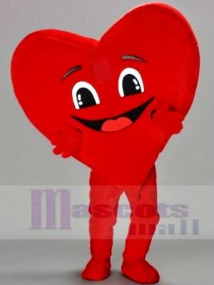 Heureux rouge Cœur Mascotte Les costumes