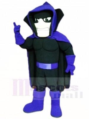 Noir Fantôme Spectre avec Violet Cap Mascotte Les costumes