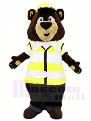 Trafic Police marron Ours Mascotte Les costumes Animal