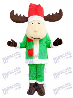 Caricature de costume de mascotte renne cerf de Noël