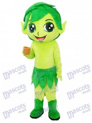 Assistant vert elfe avec dessin de costume de mascotte de feuilles
