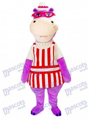 Hippopotame hippopotame violet avec costume de mascotte de lunettes Animal