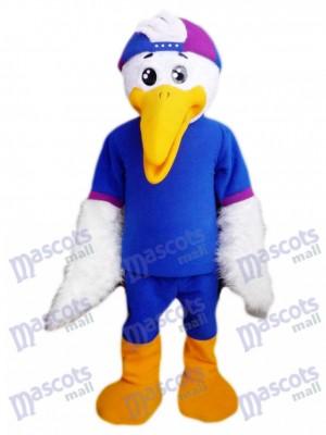 Oiseau en costume de mascotte de chemise bleue Animal