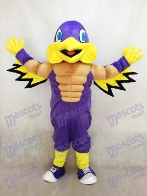 Mighty Golden Eagle Costume de mascotte pourpre et jaune