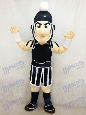 Nouveau Costume de mascotte Sparty Knight Spartan noir et blanc