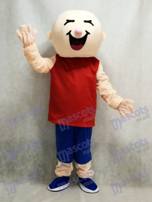Garçon rond tête en costume de mascotte gilet rouge