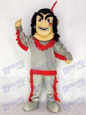 Costume de mascotte amérindienne avec plume rouge