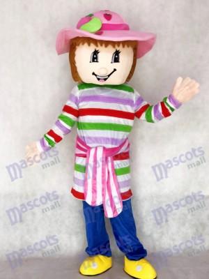 Belle bande dessinée de costume mascotte de fraise colorée de fille de shortcake
