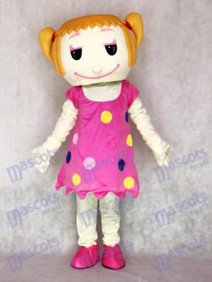 Cheveux solides fille en robe rose Costume de mascotte adulte