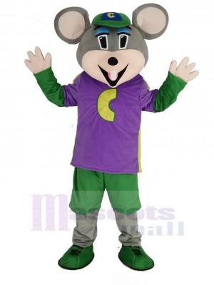 Chuck E. Cheese Mascotte Costume Souris avec Violet T-shirt Dessin animé