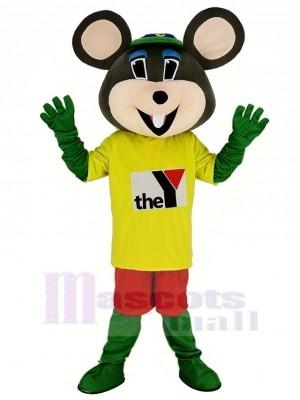 Chuck E. Cheese Mascotte Costume Souris avec Jaune T-shirt Dessin animé