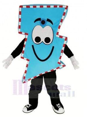 M. électrique Bleu Foudre Boulon avec Épais Rayures Mascotte Costume