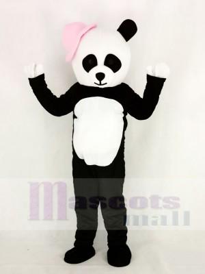 Panda avec Rose Chapeau Mascotte Costume Dessin animé