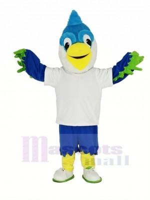 Royal Bleu Tête Oiseau avec blanc T-shirt Mascotte Costume Animal