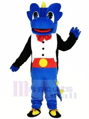 Bleu Dragon avec Noir Smoking Mascotte Costume Dessin animé