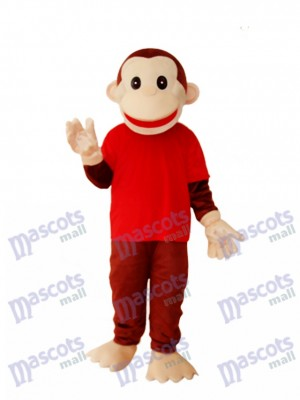Singe heureux en chemise rouge Mascotte Costume adulte Animal
