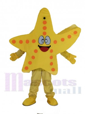 Souriant Jaune Étoile de mer Mascotte Costume