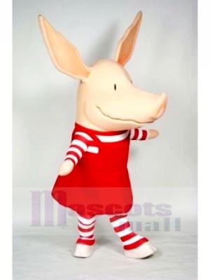 Porc dans rouge Robe Mascotte Les costumes Dessin animé