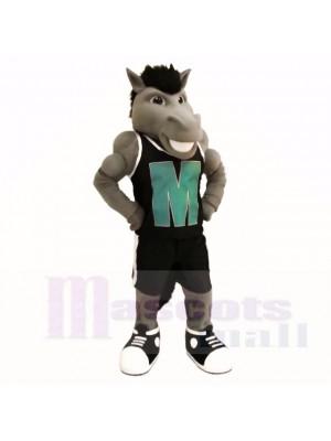 Gris Puissance Mustang avec Noir Chemise Costumes De Mascotte École