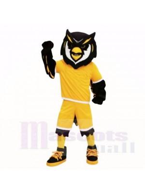 sport Hibou avec Jaune Chemise Mascotte Les costumes Adulte