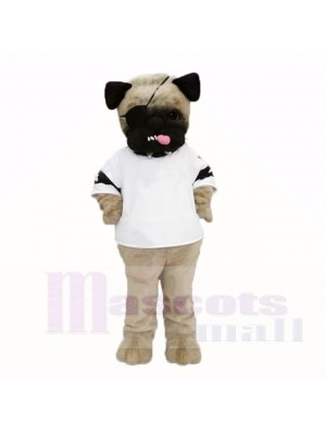 Moche chien carlin avec une chemise blanche mascotte costumes dessin animé