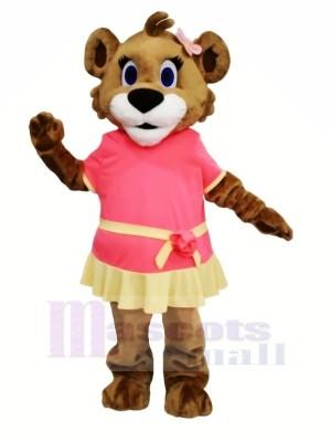 Femelle Lion avec Robe Mascotte Les costumes Dessin animé