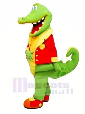 Heureux Alligator dans rouge Mascotte Les costumes Pas cher