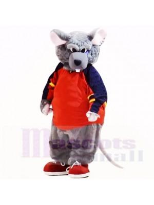 sport Rat avec rouge vêtements Costumes De Mascotte Dessin animé