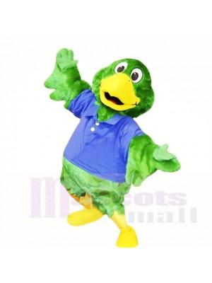 vert Perroquet avec Bleu Chemise Costumes De Mascotte École