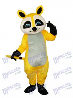 Mascotte de raton laveur jaune Costume adulte