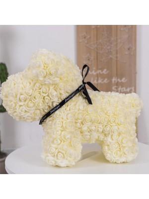 Beige Rose Chiot Chien Fleur Chiot Chien Meilleur cadeau pour la fête des mères, la Saint-Valentin, les anniversaires, les mariages et les anniversaires