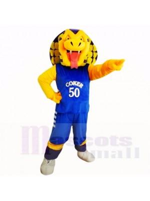 Des sports Cobra Serpent avec Bleu Chemise Costumes De Mascotte Dessin animé