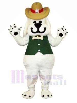 Souriant blanc Chien Mascotte Les costumes Dessin animé