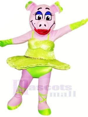 Dansant Porc avec vert Jupe Mascotte Les costumes Animal