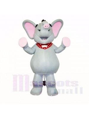 Gris et Rose l'éléphant Costumes De Mascotte Dessin animé