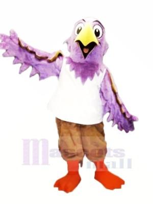 Violet Aigle avec blanc Gilet Mascotte Costume Dessin animé