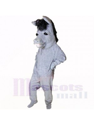 Souriant Gris Âne Costumes De Mascotte Dessin animé