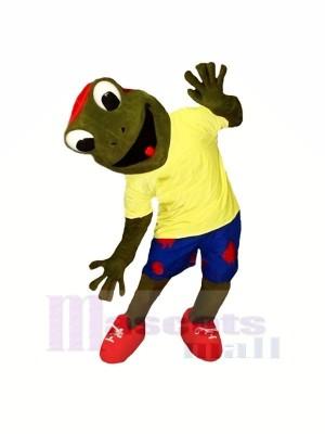 Heureux La grenouille avec Jaune T-shirt Mascotte Les costumes Dessin animé
