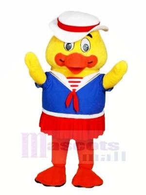 Maman canard avec blanc Chapeau Mascotte Costume Dessin animé
