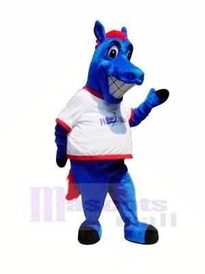 Heureux Bleu Cheval Mascotte Les costumes Dessin animé